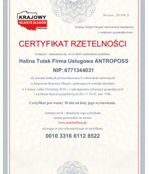 7.Certyfikat Rzetelnosci Halina Tutak Firma Uslugowa ANTROPOSS [PL]
