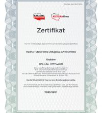 Certyfikat Rzetelnosci Firma Uslugowa ANTROPOSS [DE]